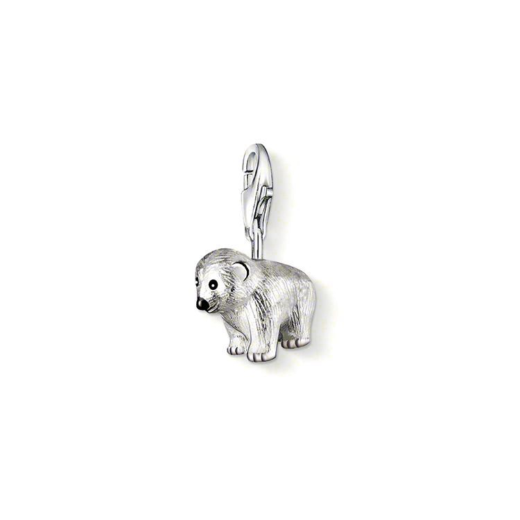 Charm pendentif ours blanc avec fermoir à mousqueton argent sterling 925 emaillé blanc et noir (Taille: 0,9 cm)