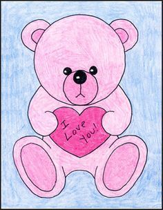 aec8b0451 Valentine Teddy Bear   crafts   Drawings, Bear valentines, Valentine ...