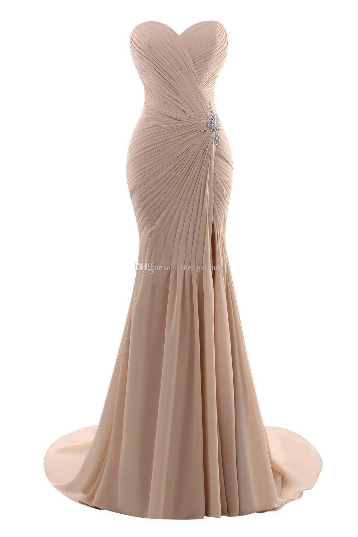 Cheap womenus sweetheart mermaid long chiffon evening dress formal