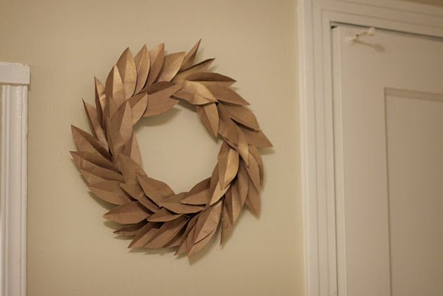 Cute wreath made from paper bags