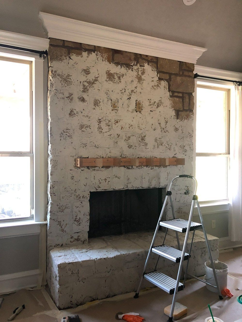 How To German Schmear A Stone Fireplace Painted Stone Fireplace