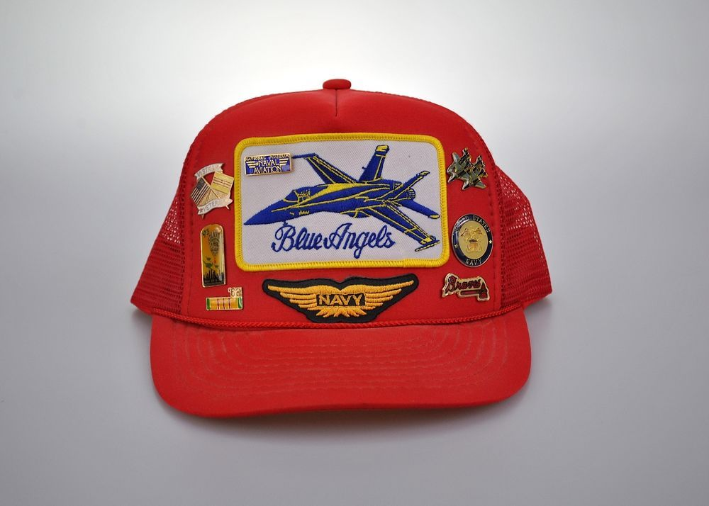 18c3f2f49be Vintage Blue Angels Hat Snapback Trucker Air Force Navy USA Streetwear 80s  90s  Nissin  Trucker  Everyday