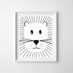 Illustration, Nursery printable, Baby Lion, Black and White Nursery Art, Downloadable Print, monochromatic art, monochrome print, wall decor #kinderzimmerkunst