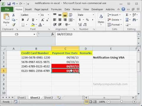 How to create notifications or reminders in Excel - You can create