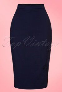 50s Ashcott Pencil Skirt in Navy