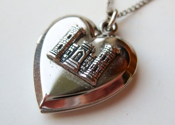 vintage heart shaped sterling silver castle sweetheart locket necklace pendant