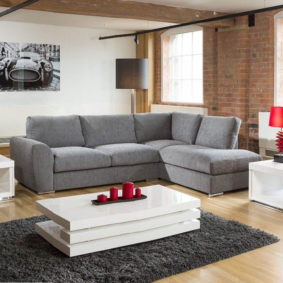 Modern L Shape Sofa Set Settee Corner Group 305x210cm Grey Fabric R In 2020 With Images Sofa Set L Shape Sofa Set