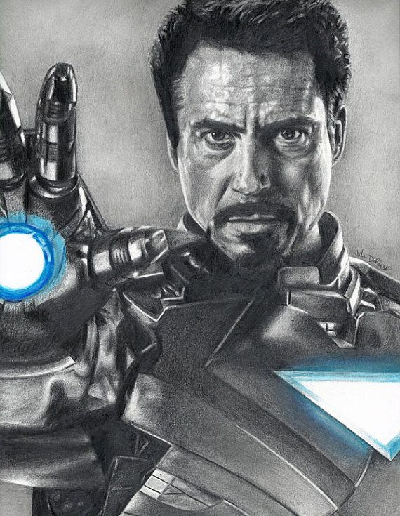 Drawing Of Iron Man Robert Downey Jr From Avengers Arte Y