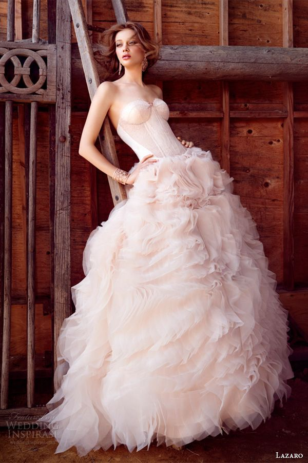 Lazaro fall 2015 wedding dresses bridal ball strapless sweetheart silk satin organza corset lace sheer cutouts curved chapel lz3550 For more wedding dress inspiration: http://www.boutiquebridalconcepts.com/suppliers/wedding-dresses #wedding #weddingdresses #Lazaro