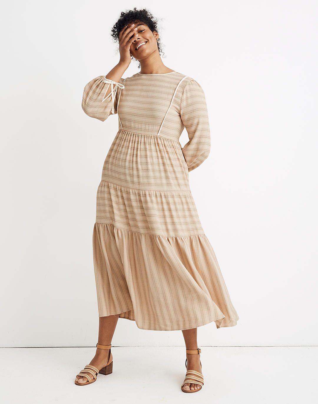 Madewell X Christy Dawn Striped Tallulah Tie Back Midi Dress Fall Dress Trends Midi Dress Trending Dresses [ 1372 x 1080 Pixel ]