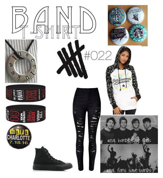 """""""#022 Band T"""" by judgenotwhileyouknownot ❤ liked on Polyvore featuring WithChic, Converse, 5sos, bandtshirt and bandtee"""