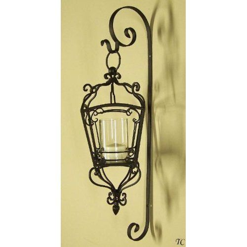 Wrought Iron Candle Lanterns Wrought Iron Scroll Wall Candle Lantern Sconce with Glass ...
