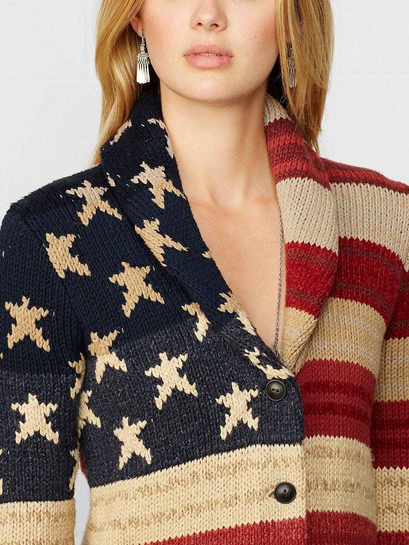 American Flag Shawl Cardigan Cardigans Sweaters