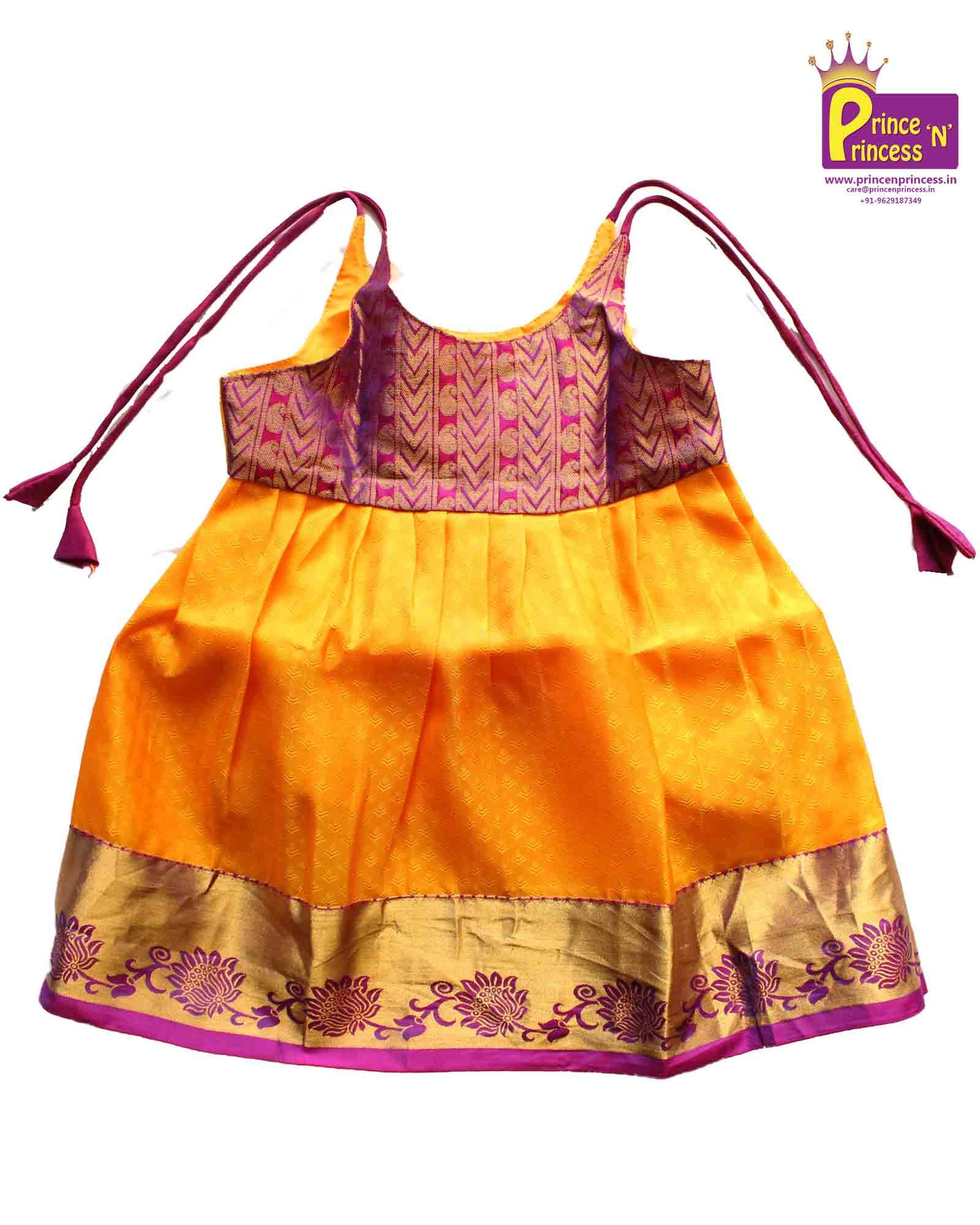 New born Pure Silk frock pattu langa baby girl online frock