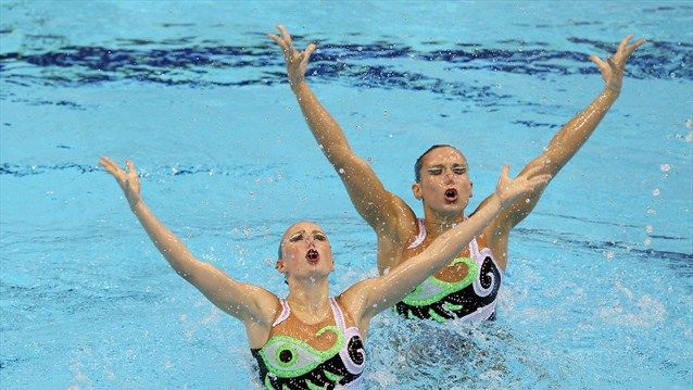 Italy perform their Team Free routine