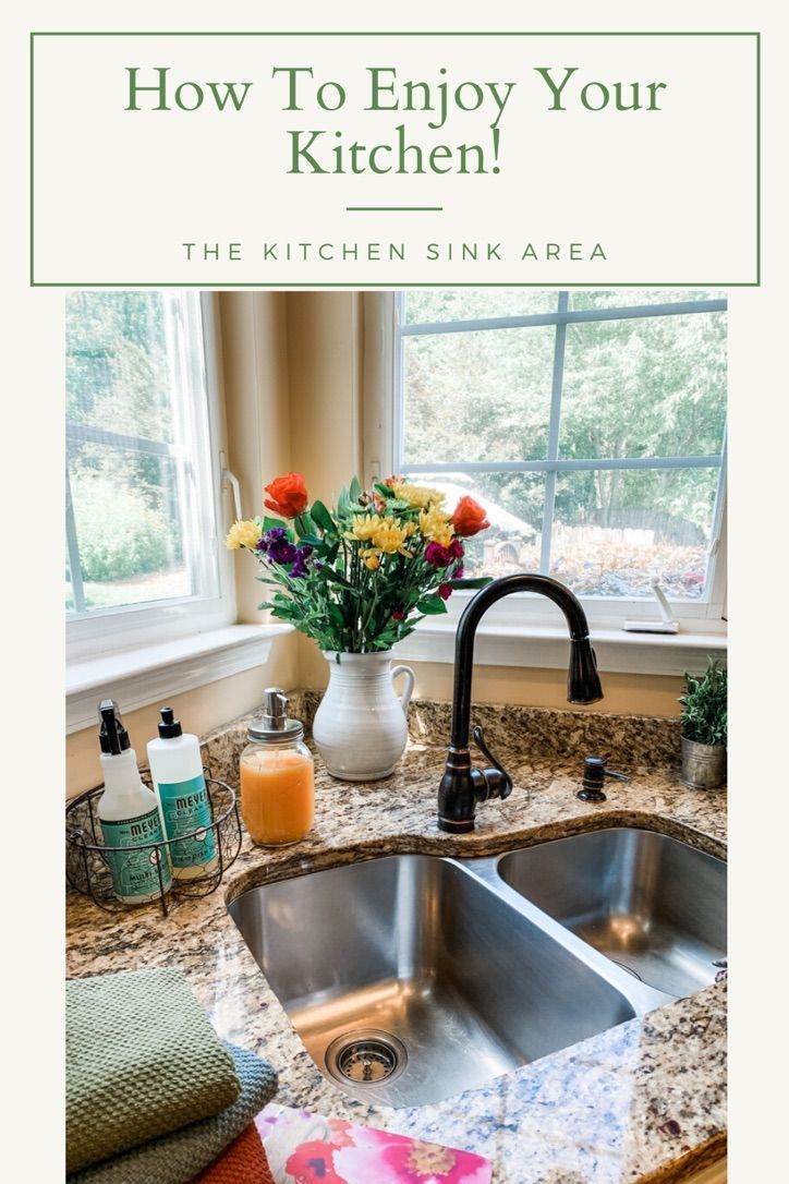 Enjoy your kitchen again with these tips for decorating and organizing your kitchen sink area.    The Scarlet Lily Blog  Fashion, Beauty, Home Decor  #KitchenDecor #KitchenSinkOrganization #KitchenOrganization #HowToOrganizeYourKitchen #KitchenStyle #FarmhouseStyle #KitchenWork #KitchenDecoratingIdeas #KitchenDecorThemes