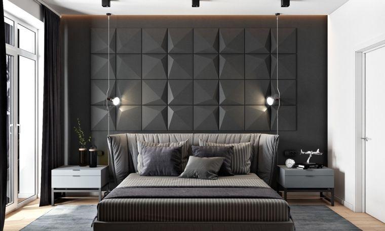 pannello-decorativo-parete-colore-nero-lampade-sospensione-camera ...