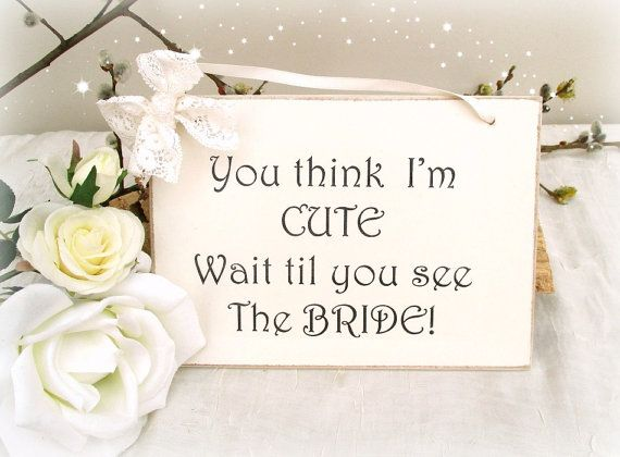 wedding plaque sign for a flower girl to carry into church on etsy