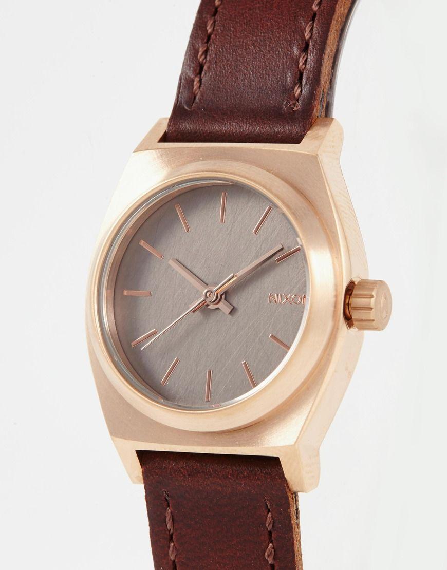 Изображение 2 из Часы с коричневым кожаным ремешком Nixon Small Time Teller