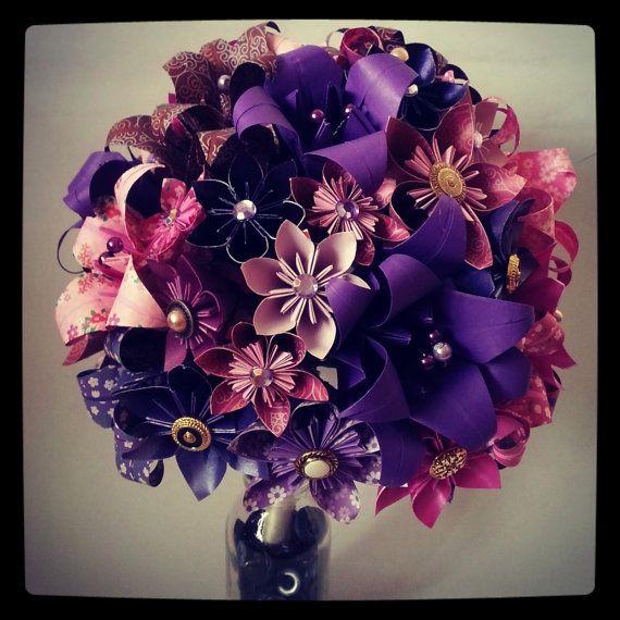 origami paper flower bouquet wedding alternative bouquet bride purple pink lily daisy vintage. Black Bedroom Furniture Sets. Home Design Ideas