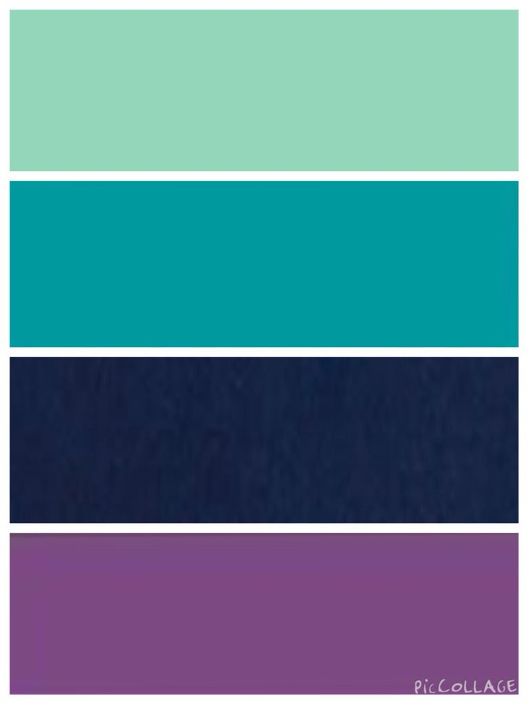 Mint, teal, navy, and purple color scheme More