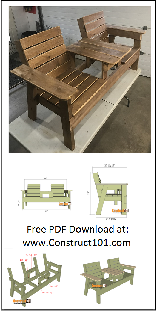 Double Chair Bench Plans - Step-By-Step Plans