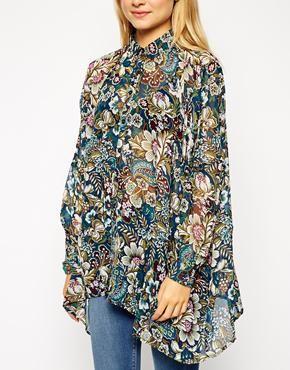 Enlarge ASOS Oversize Seam Detail Kimono Blouse in Winter Paisley Print