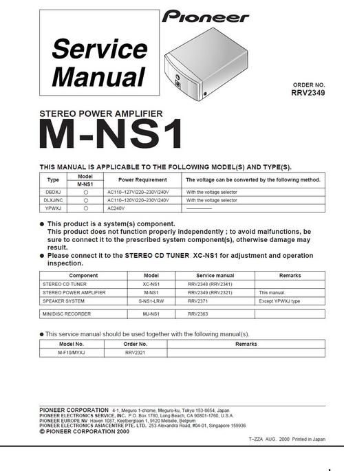 Pioneer M-90a \ M-91 Power Amplifier , Service Manual 100 per cent - operation manual