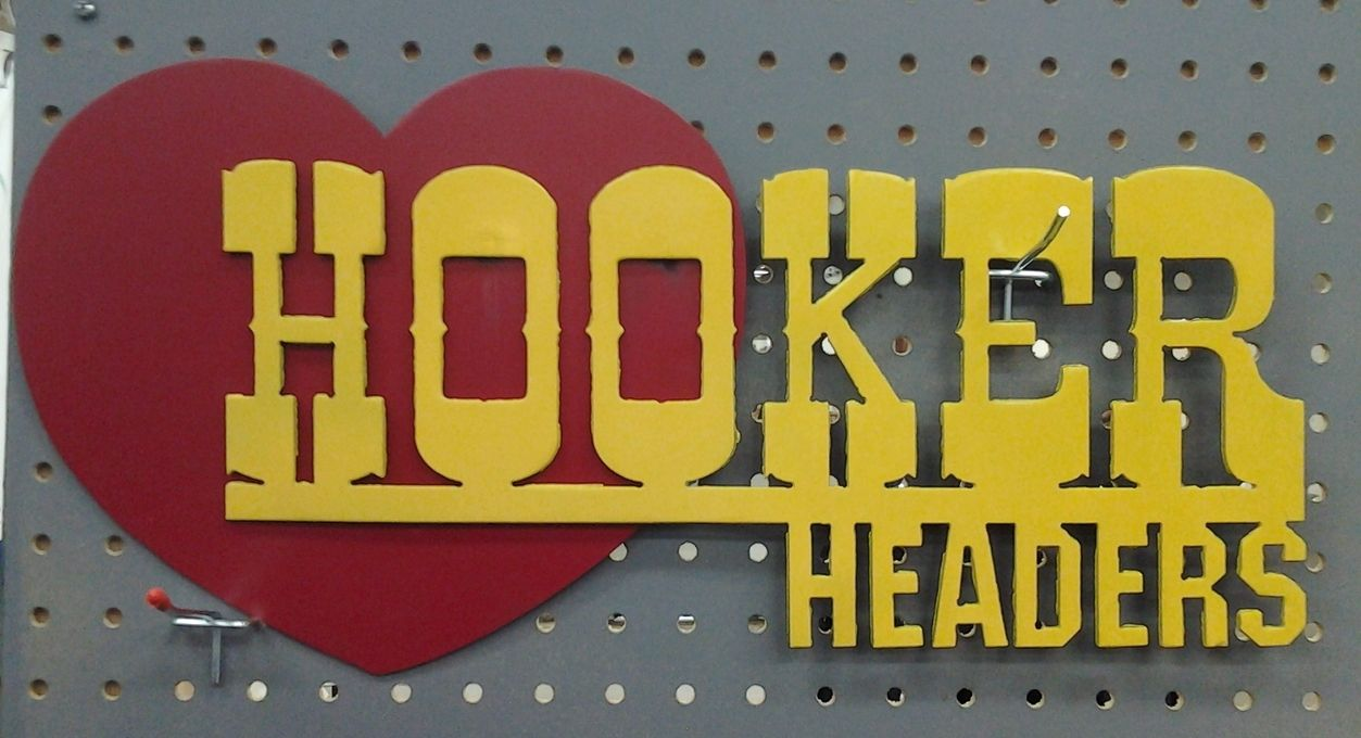 Hooker Headers metal wall art sign | Metal Art - Car | Pinterest