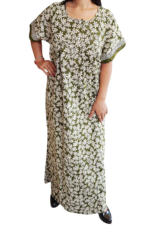 Indiatrendzs Women s Nighty Cotton Floral Sleepwear Nightdress Chest 54  (GREEN)  Amazon.in  Clothing   Accessories 00721a1ac
