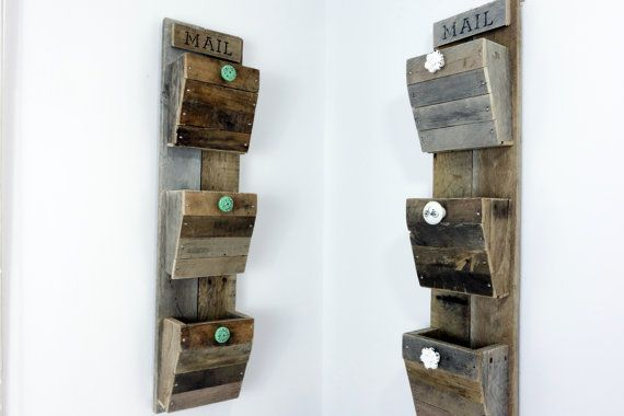 Personalized Wall Mail Organizer Reclaimed Wood Wall Hanging Mail Sorter 3 Bin Wall Mounted Mail Hold Mail