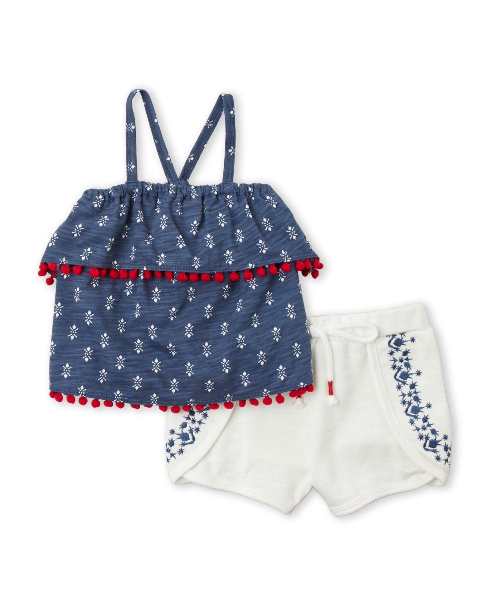 Jessica Simpson (Toddler Girls) Two-Piece Tiered Pom-Pom Tank & Shorts Set