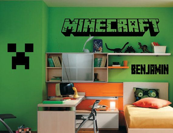 MINECRAFT LOGO Inspired Wall Decal Wall by Bonkers4Bottlecaps $16.00 & MINECRAFT LOGO Inspired Wall Decal Wall by Bonkers4Bottlecaps ...