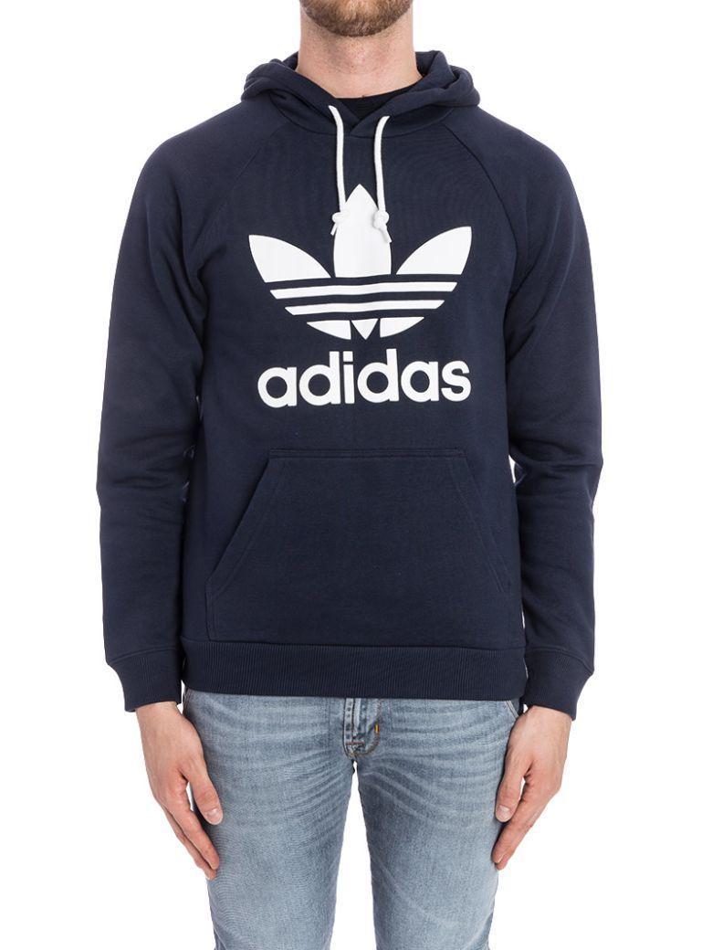 Adidas Originals Trefoil Hoody Cotton Blend Sweatshirt In Navy Blue Modesens Mens Sweatshirts Cotton Sweatshirts Hoodies [ 1040 x 780 Pixel ]