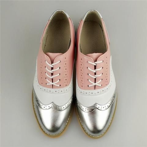 Image of women genuine leather oxford shoes woman flats handmade vintage retro l... 1