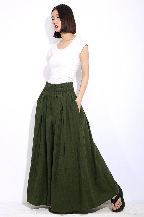 46e0b22decee3 Army Green Plus Size Skirt - Khaki Long Maxi Casual Everyday Comfortable  Handmade Skirt with Elastic