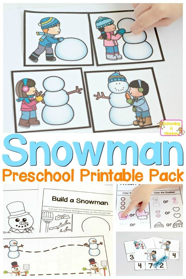 No-Prep Snowman Printables Pack for Preschoolers Winter Activities