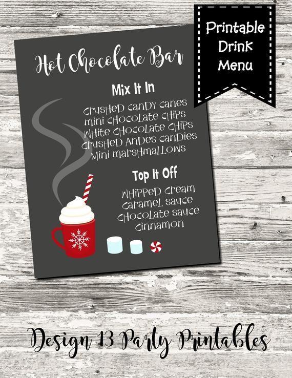 Hot Chocolate Bar Drink Menu Sign Christmas Drink Menu Digital Printable #hotchocolatebar