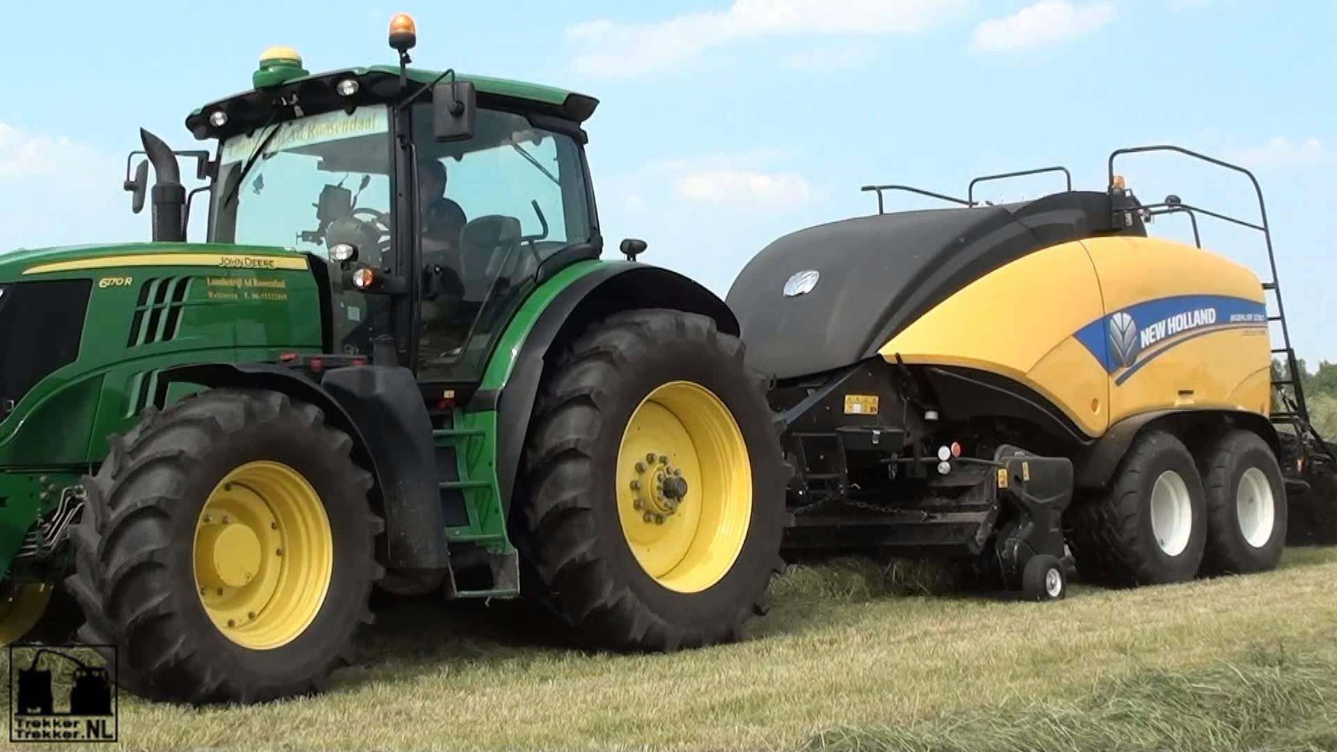 Hay baling with a John Deere 6170R + New Holland BigBaler