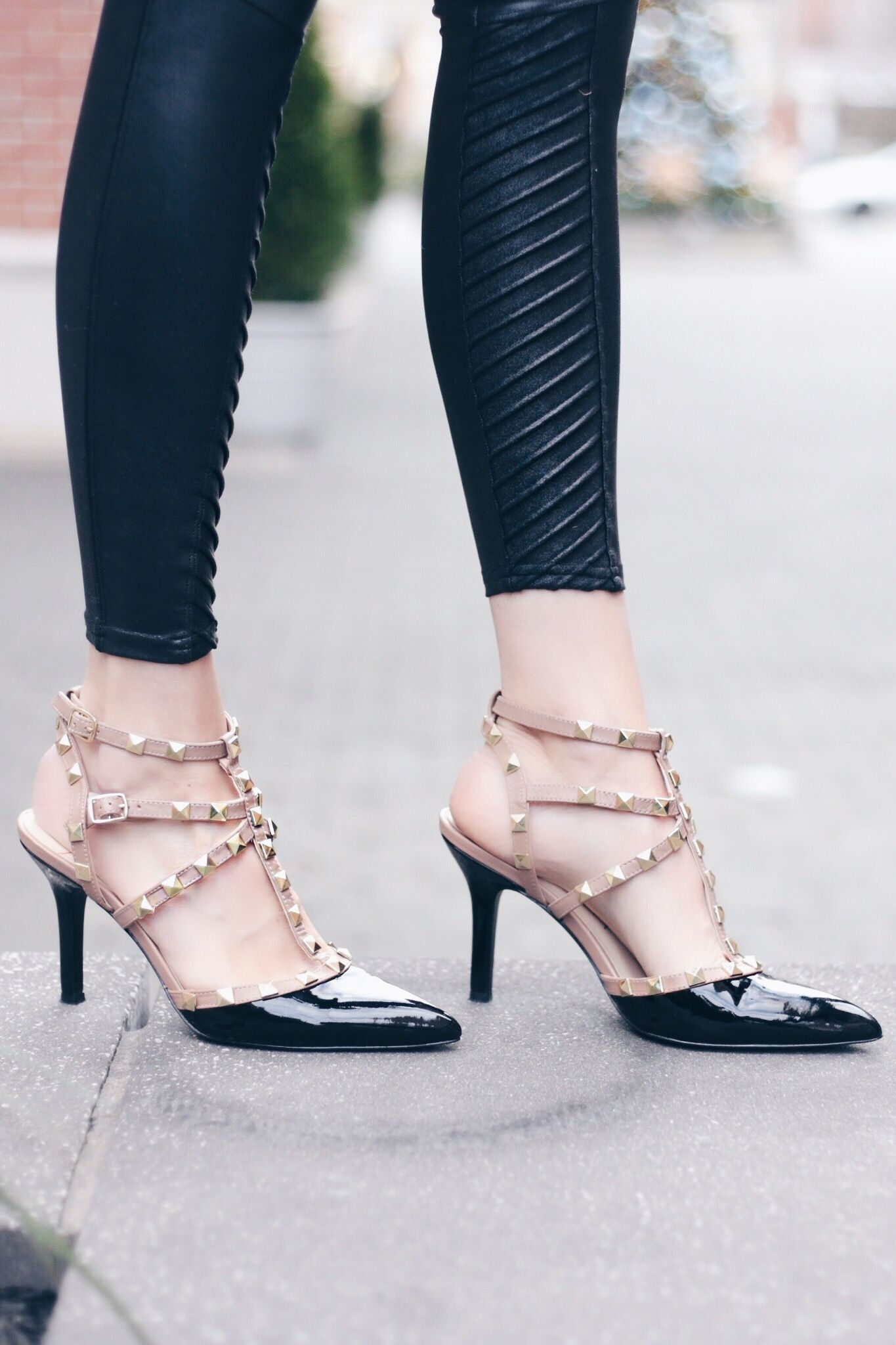 630753a9920 holiday outfits with leggings - valentino rockstud dupes by sole society  with faux leather leggings