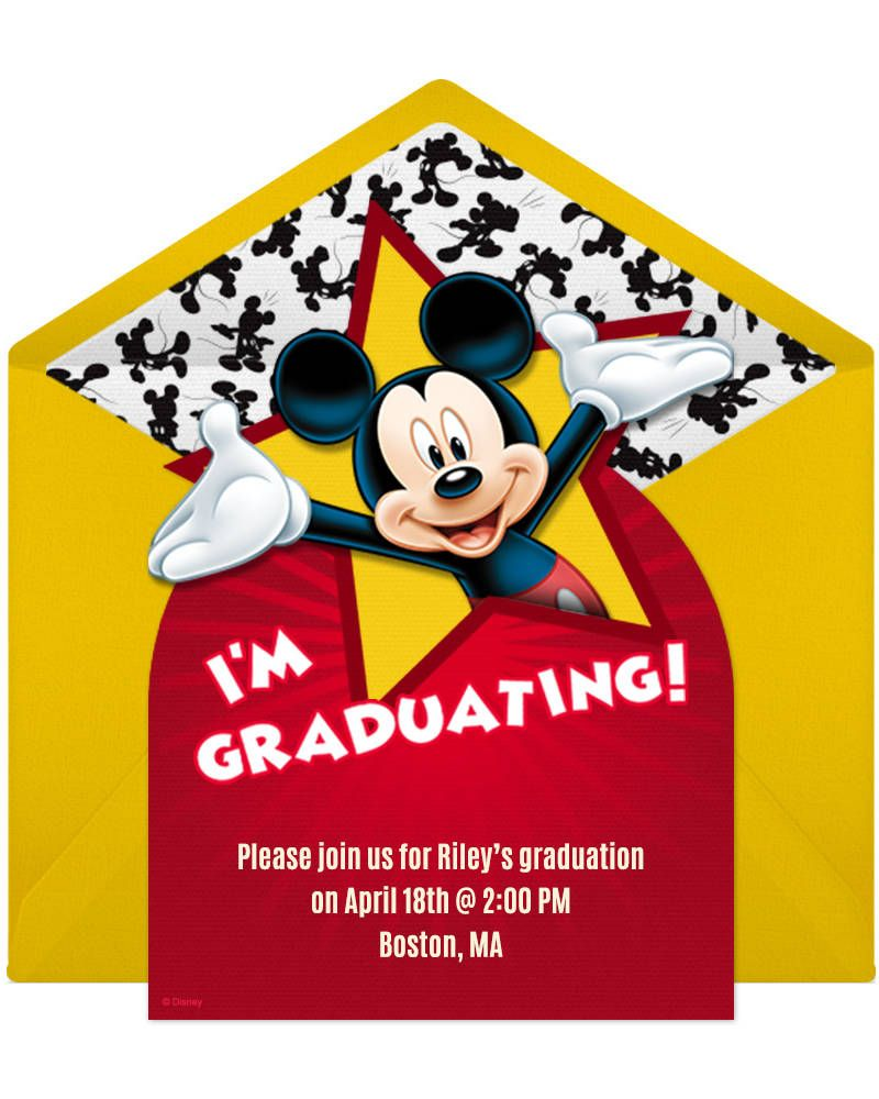 mickey graduation party online invitation geeky board pinterest