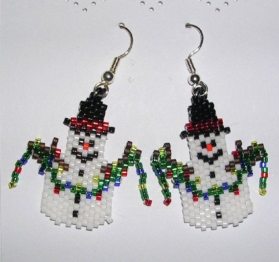 5c07a7598 Snowman with Christmas lights Earrings   Beading projects   Beaded ...