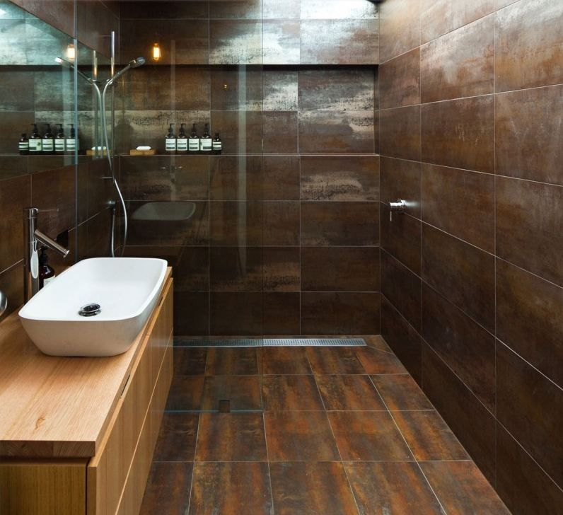 Bathroom Color Inspiration Gallery: Metallica Brown Porcelain Tile 12 X 24