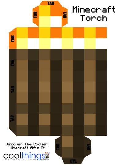 Minecraft Torch With Flickering Light Minecraft Birthday Minecraft Birthday Party Minecraft Crafts