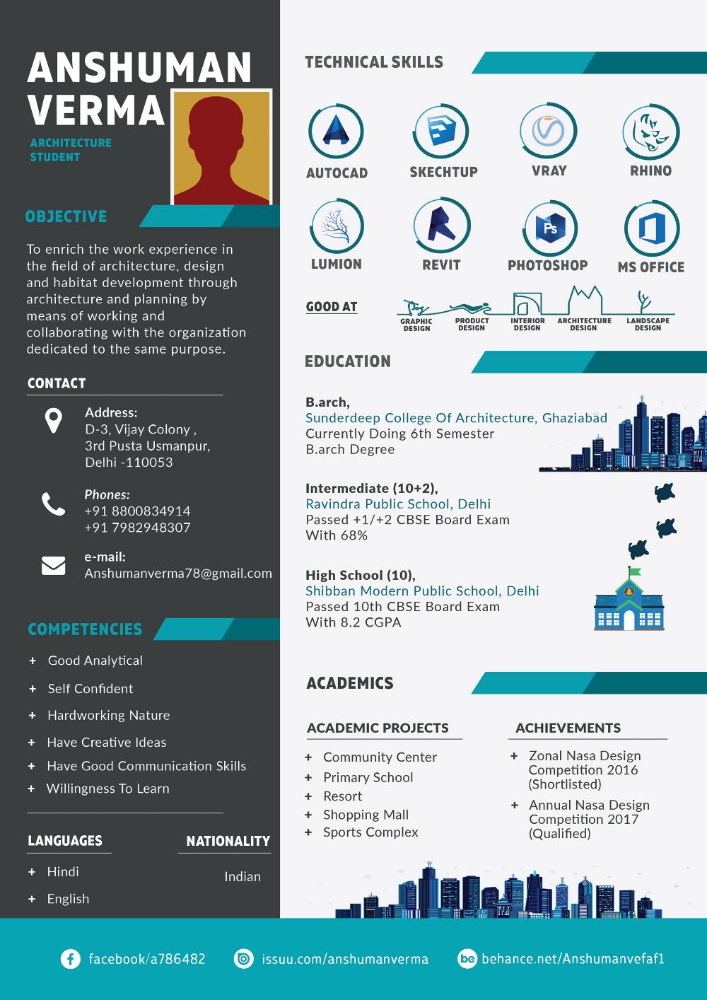 Architecture Resume in 2020 Architecture resume, Graphic