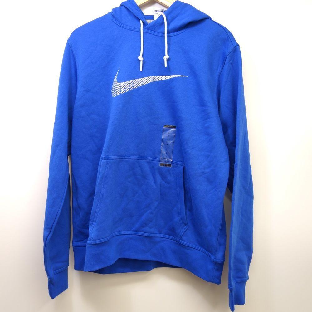 Mens Nike Team Club Fleece Hoodie Sweatshirt Royal Blue Small S White 598437 493