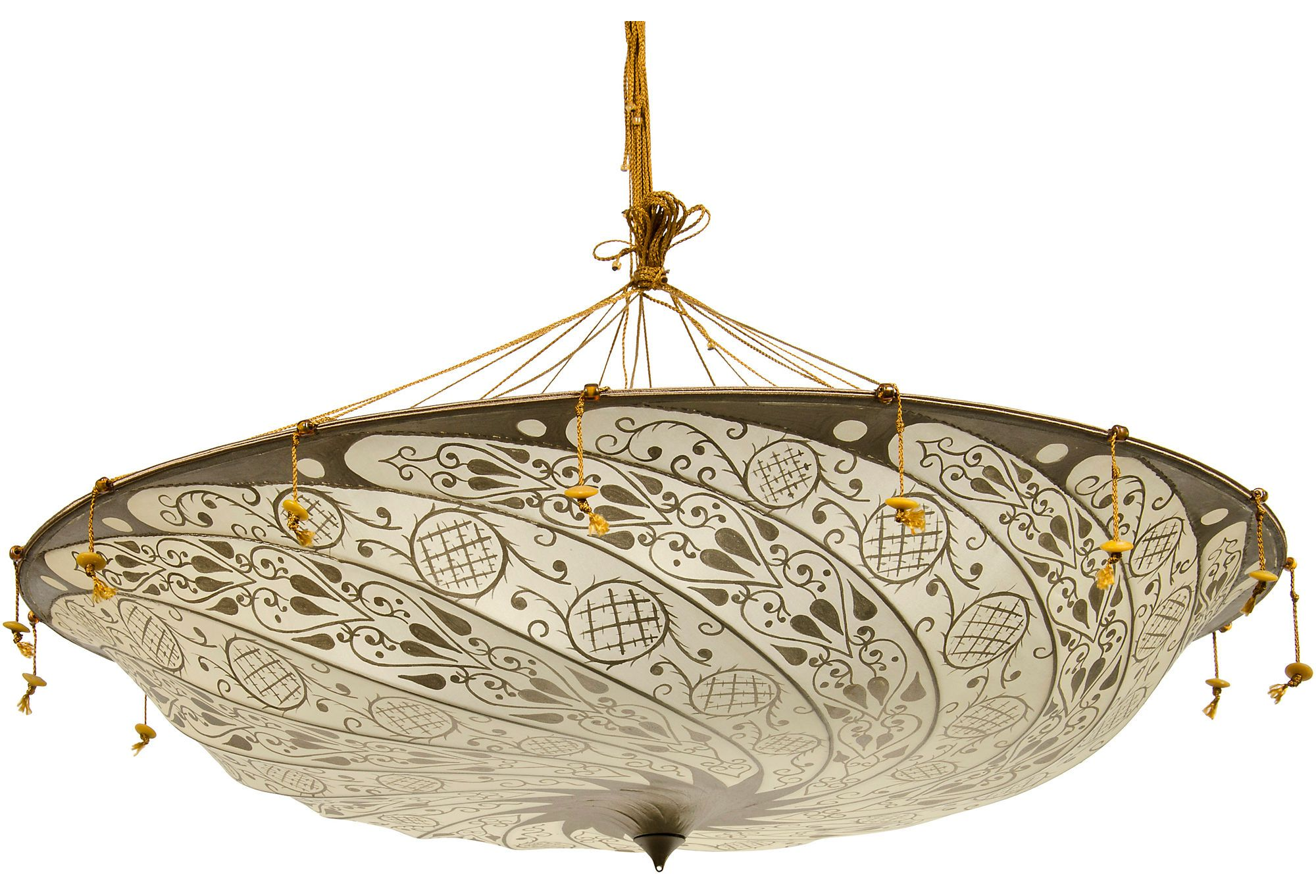 Fortuny ceiling fixture on one kings lane today shop tastemaker fortuny scudo saraceno ceiling fixture with silk fabric shade and murano beads purchased from the fortuny shop in florence ellen rakieten is president arubaitofo Image collections