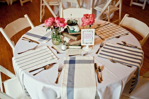 Tea towel place settings as an alternative to table runners for round tables at your wedding reception & Tea towel place settings as an alternative to table runners for ...