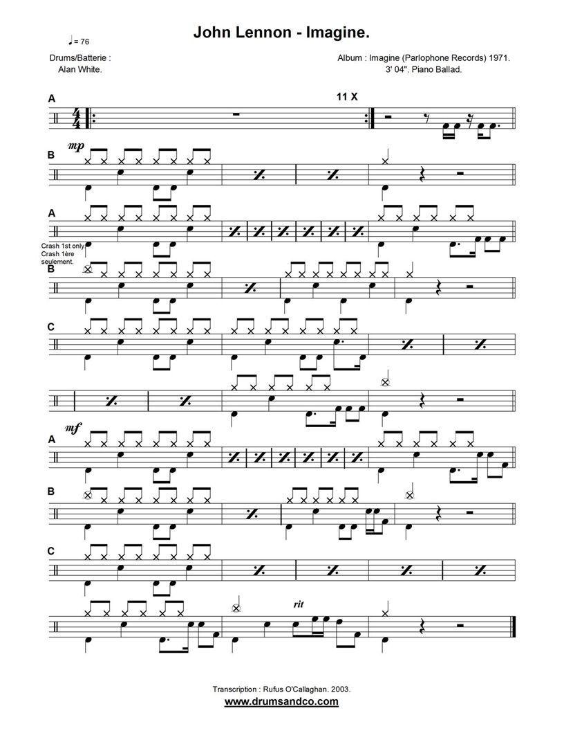 Partituras Grooves Y Solos Para Bateria Imagine John Lennon