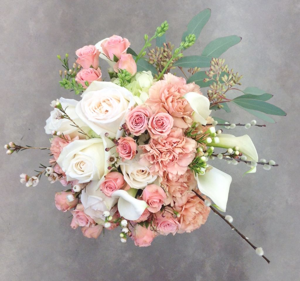 Blush And White Bridal Bouquet With Garden Roses Calla Lilies Carnations Spray Roses Wax Diy Wedding Bouquet Garden Rose Bouquet White Rose Wedding Bouquet